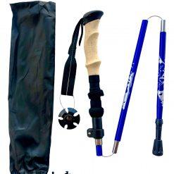 Blue hiking trekking pole with black pocket