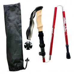 Red hiking trekking pole with black pocket